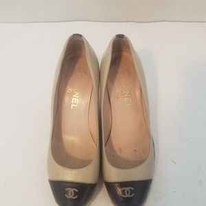 authentic chanel cc logo espradrilles wedges 37